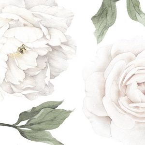 Ginger Monkey White Peony & Rose Wall Decals Half Set
