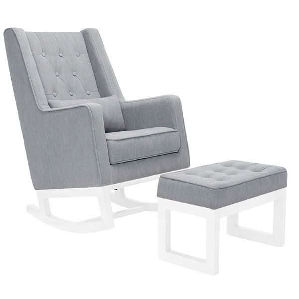 Il Tutto Casper Rocking Chair & Ottoman White Legs