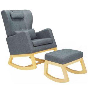 Il Tutto Mimmie Rocking Chair & Ottoman Flint Grey