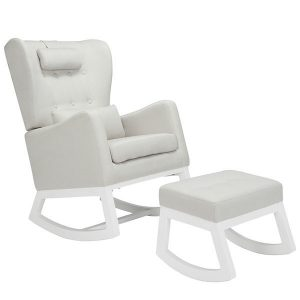 Il Tutto Mimmie Rocking Chair & Ottoman Snow Grey