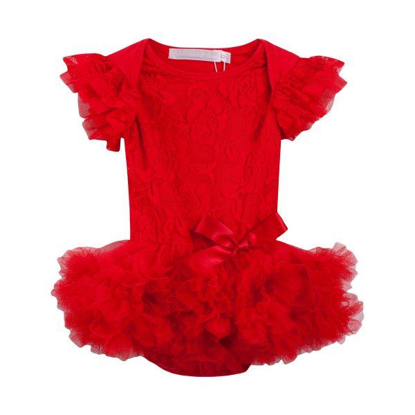 Designer Kids Libby Red Lace Romper