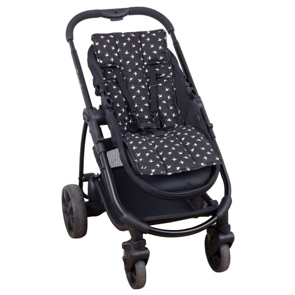 Outlookbaby Pram Liner Black with White Swallows