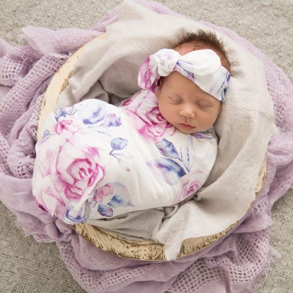 Snuggle Hunny Kids Lilac Skies Jersey Wrap & Top Knot Set