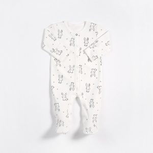 Petit Lem White Bunny Print Romper