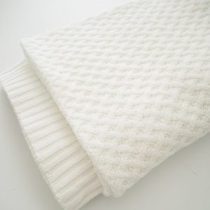 Snuggle Hunny Diamond Knit Baby Blanket White