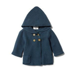 Wilson & Frenchy Knit Hooded Jacket Steel Blue