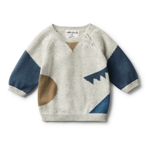 Wilson & Frenchy Jacquard Knitted Jumper Steel Blue Speckle