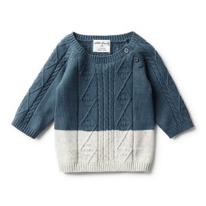 Wilson & Frenchy Cable Knit Jumper Steel Blue Dipped