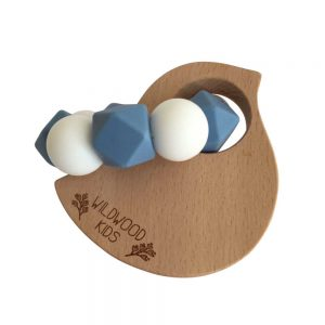 Wildwood Kids Bird Teething Ring Blue & White
