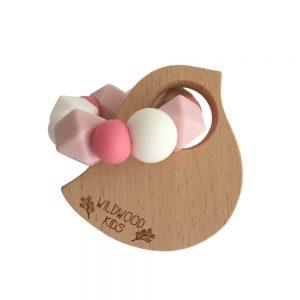 Wildwood Kids Bird Teething Ring Pink Mix