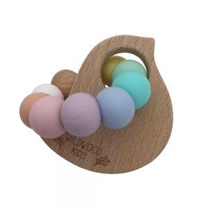 Wildwood Kids Bird Teething Ring Rainbow