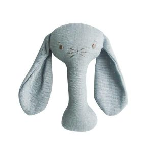 Alimrose Bobby Bunny Stick Rattle Grey Linen