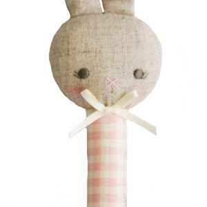 Alimrose Bunny Stick Rattle Rosie Pink Cream