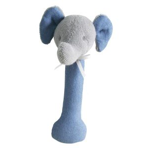 Alimrose Elephant Stick Rattle Chambray