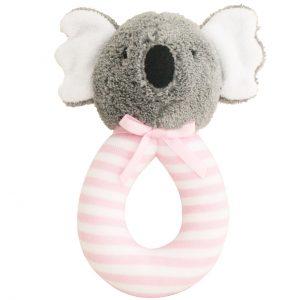 Alimrose Grab Rattle Koala Pink Stripe