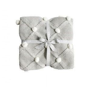 Alimrose Pom Pom Blanket Grey & Ivory