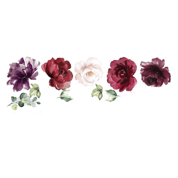Ginger Monkey Burgundy Peony & Rose Wall Decals Half Set