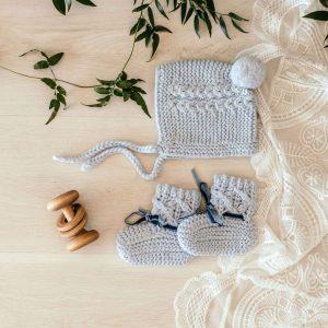 Snuggle Hunny Kids Merino Wool Bonnet & Booties Blue