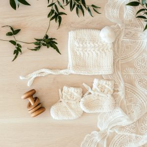 Snuggle Hunny Kids Merino Wool Bonnet & Booties Ivory