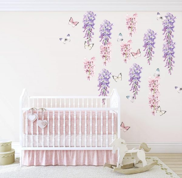 Ginger Monkey Wisteria, Hyacinth & Butterflies Wall Decals