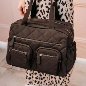 Oioi Carry All Black Diamond Quilt Nappy Bag
