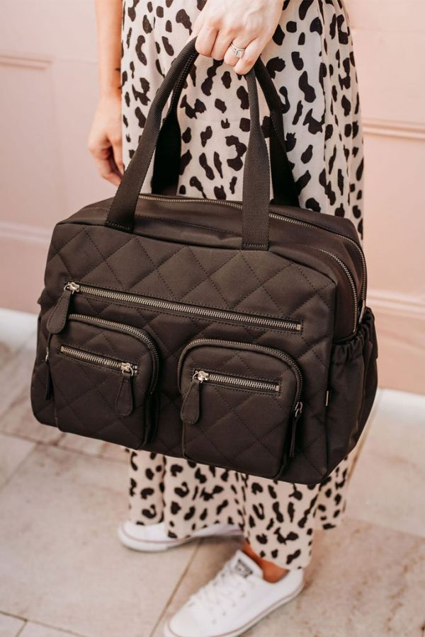 Oioi Carry All Black Diamond Quilt Nappy Bag