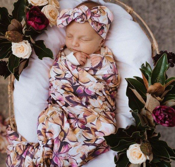 Snuggle Hunny Kids Leilani Jersey Wrap & Topknot Set