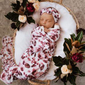 Snuggle Hunny Kids Fleur Jersey Wrap & Topknot Set