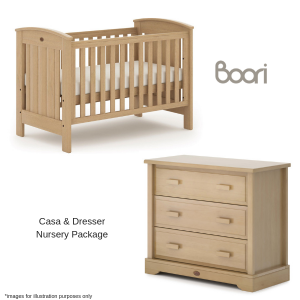 Boori Casa Cot, Mattress & 3 Drawer Dresser Nursery Package