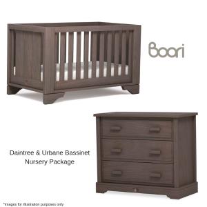 Boori Eton Expandable Cot, Mattress & 3 Drawer Dresser