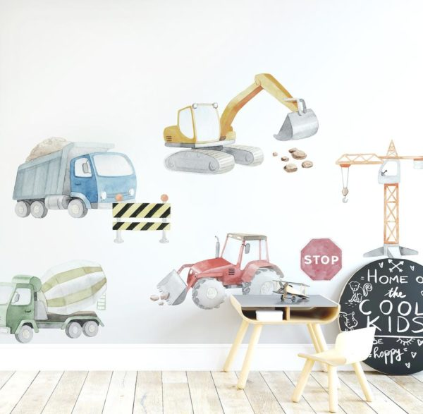 Ginger Monkey Construction & Trucks Wall Decal Set