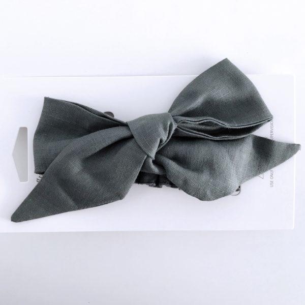 Snuggle Hunny Kids Pre-Tied Linen Headband Olive