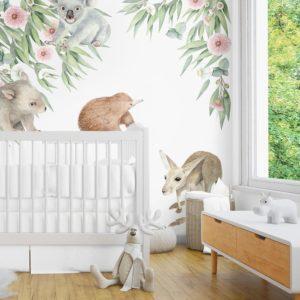 Ginger Monkey Australian Baby Animal & Gum Tree Decal Set
