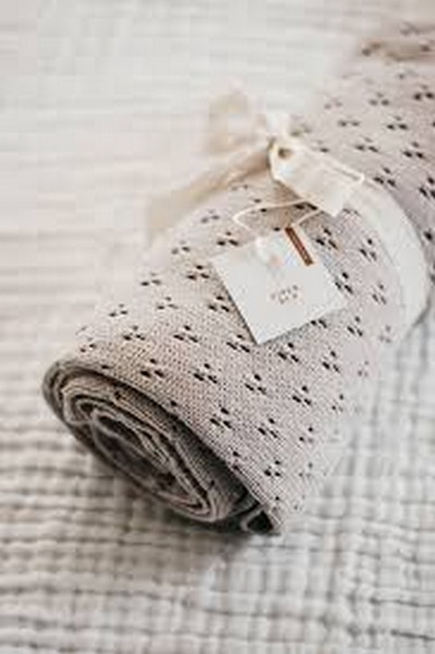 Piper Bug Heritage Knit Blanket Taupe