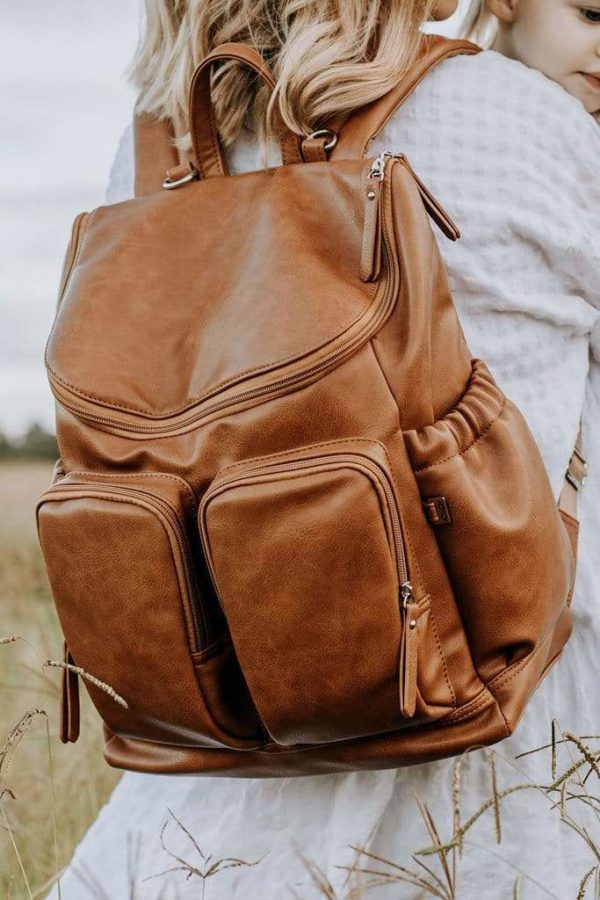 Oioi Faux Leather Nappy Backpack Tan