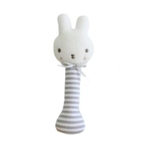 Alimrose Baby Bunny Stick Rattle Grey