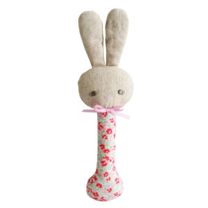 Alimrose Rosie Bunny Stick Rattle Sweet Floral