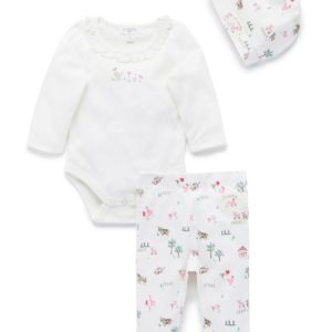 Purebaby 3 Piece Gift Pack Farm Pink