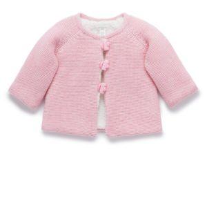 Purebaby Cosy Lined Cardigan Rosie Pink