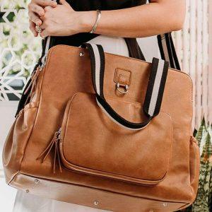OiOi Faux Leather Tote Triple Compartment Nappy Bag - Tan