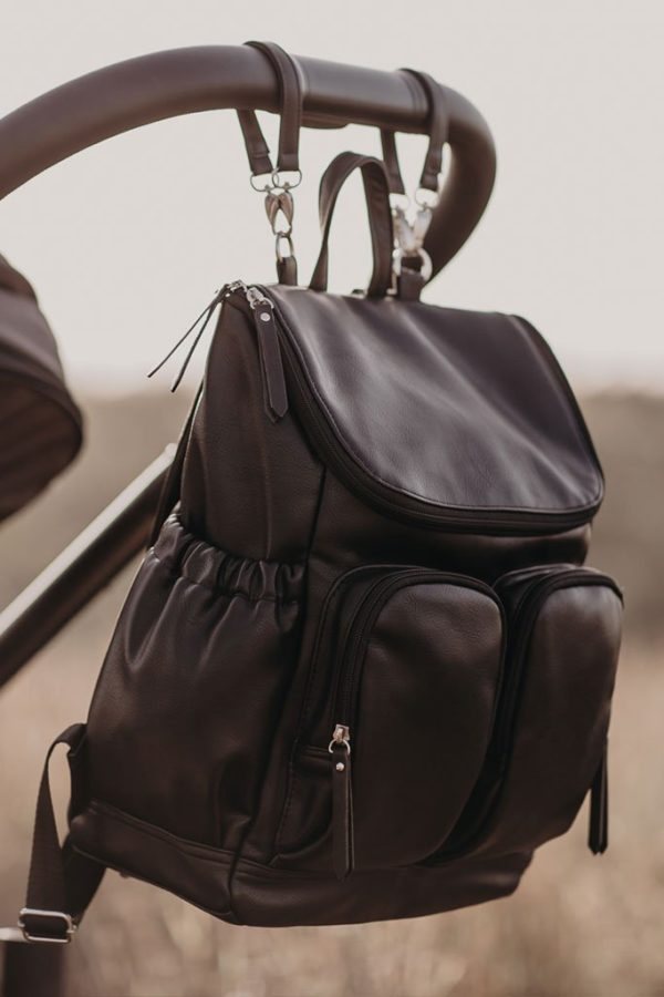 Oioi Faux Leather Nappy Backpack Black