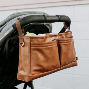 Oioi Faux Leather Stroller Organiser Pram Caddy Tan