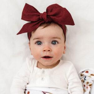 Snuggle Hunny Kids Pre-Tied Linen Headband Burgundy