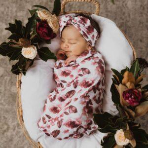 Snuggle Hunny Kids Swaddle Sack & Topknot Set Fleur