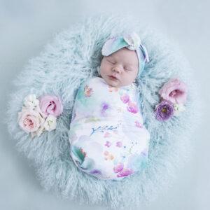Snuggle Hunny Kids Swaddle Sack & Topknot Set Sweet Petal