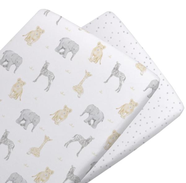 Living Textiles Savanna Babies Bassinet Fitted Sheets 2 pk