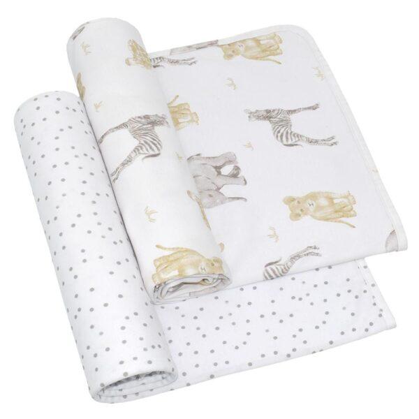 Living Textiles Savanna Babies Jersey Wrap 2 pk