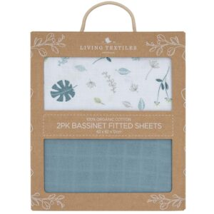Living Textiles Organic Muslin 2pk Bassinet Fitted Sheet - Banana leaf/Teal
