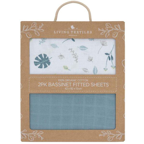 Living Textiles Organic Muslin 2pk Bassinet Fitted Sheet - Banana leaf/Teal