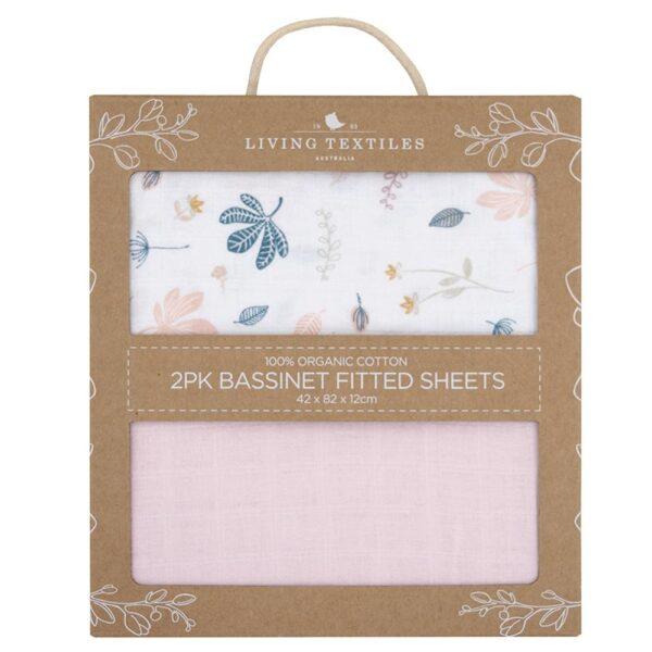 Living Textiles Organic Muslin 2pk Bassinet Fitted Sheet - Botanical/Blush